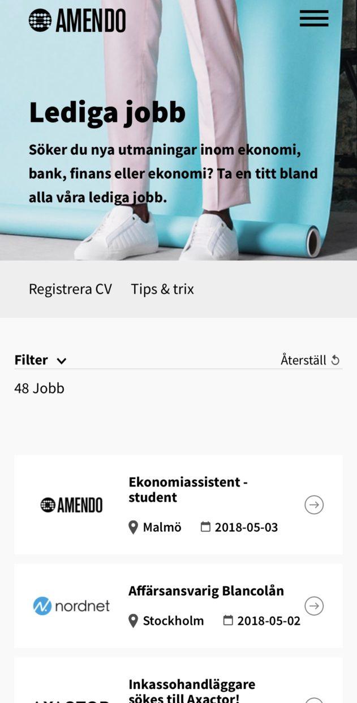 Sida med lediga jobb på Amendo.se.
