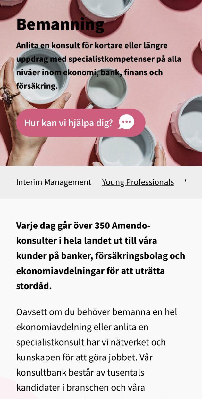 Sida om bemanning på Amendo.se