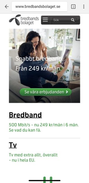 Bredbandsbolaget.se startsida i mobil enheta